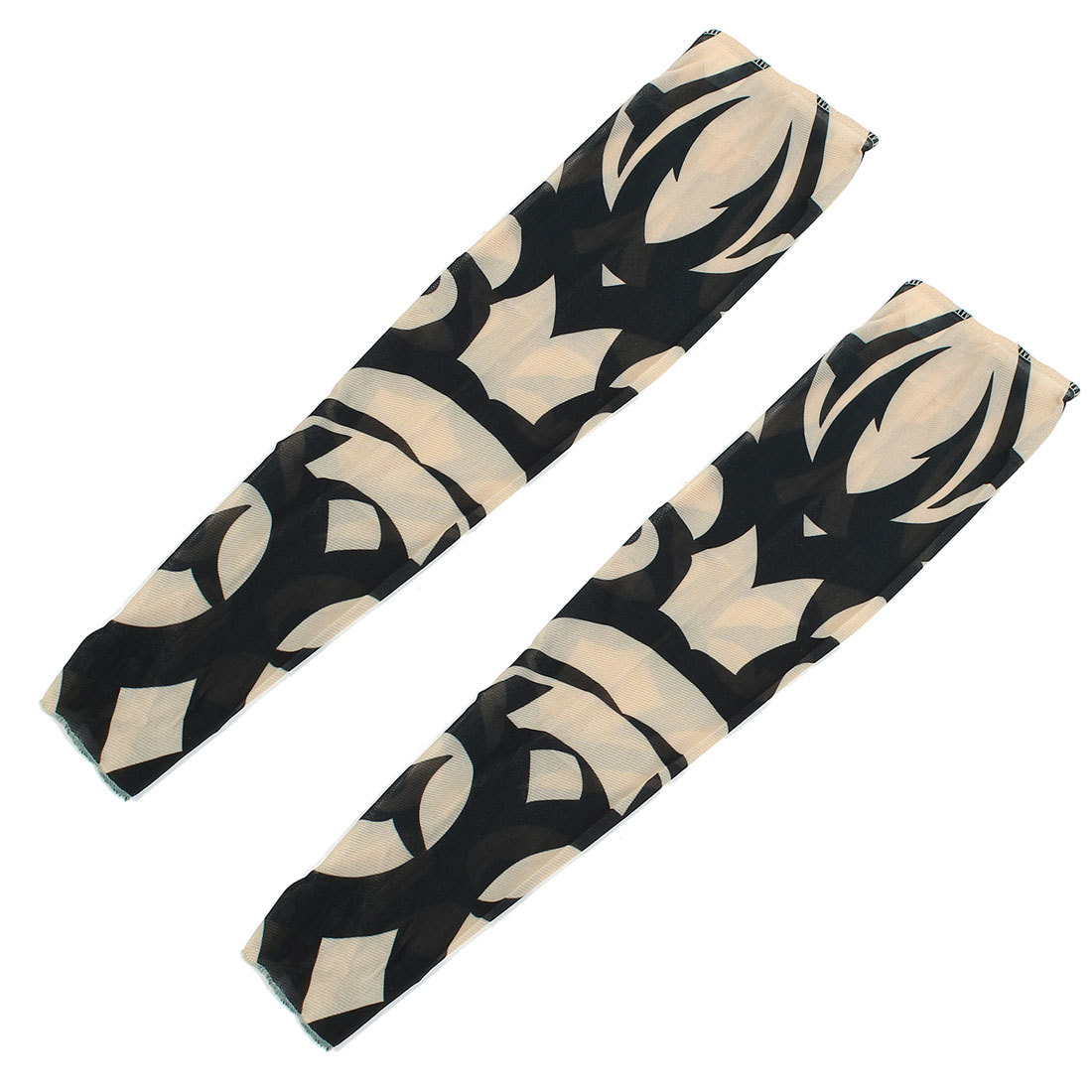 2Pcs Black Beige Breathable Strecthy Fake Tattoo Cycling Sports Arm Sleeve