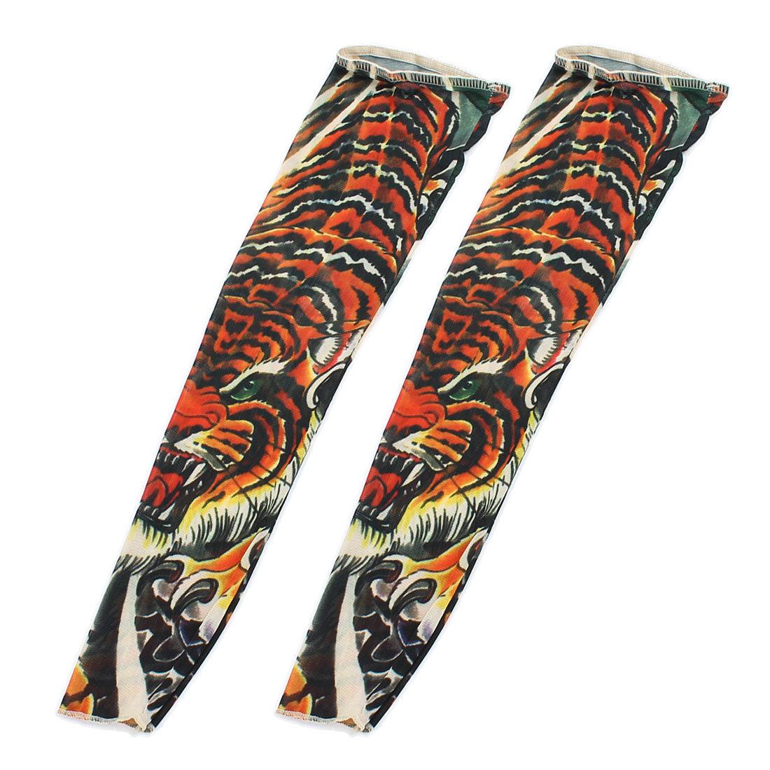 2pcs Tiger Print Sun Protect Stretchy Fake Tattoo Arm Sleeves Oversleeve Orange Red