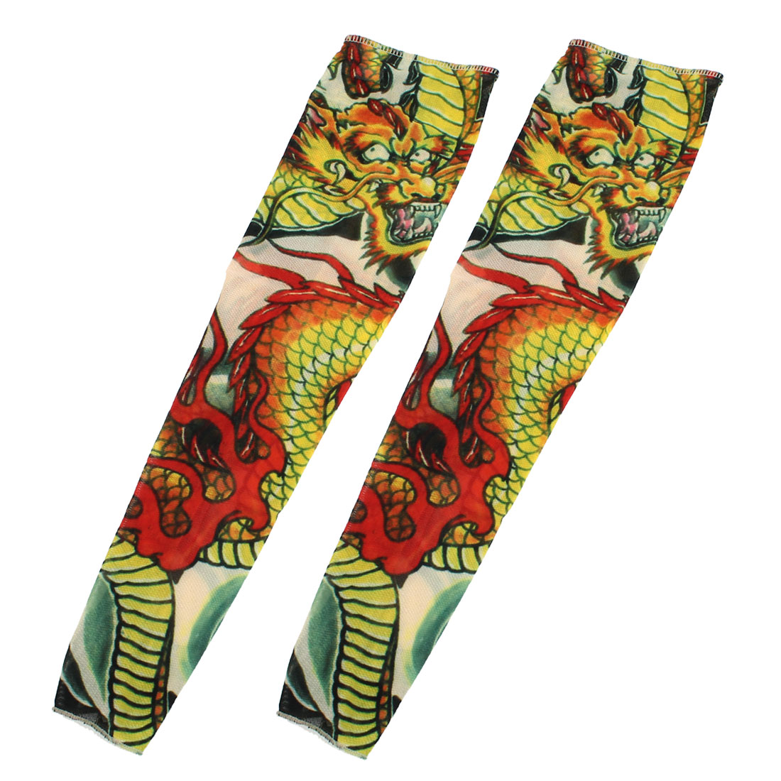 Unisex Dragon Printed Sun Protection Fake Temporary Tattoo Arm Sleeves 2pcs