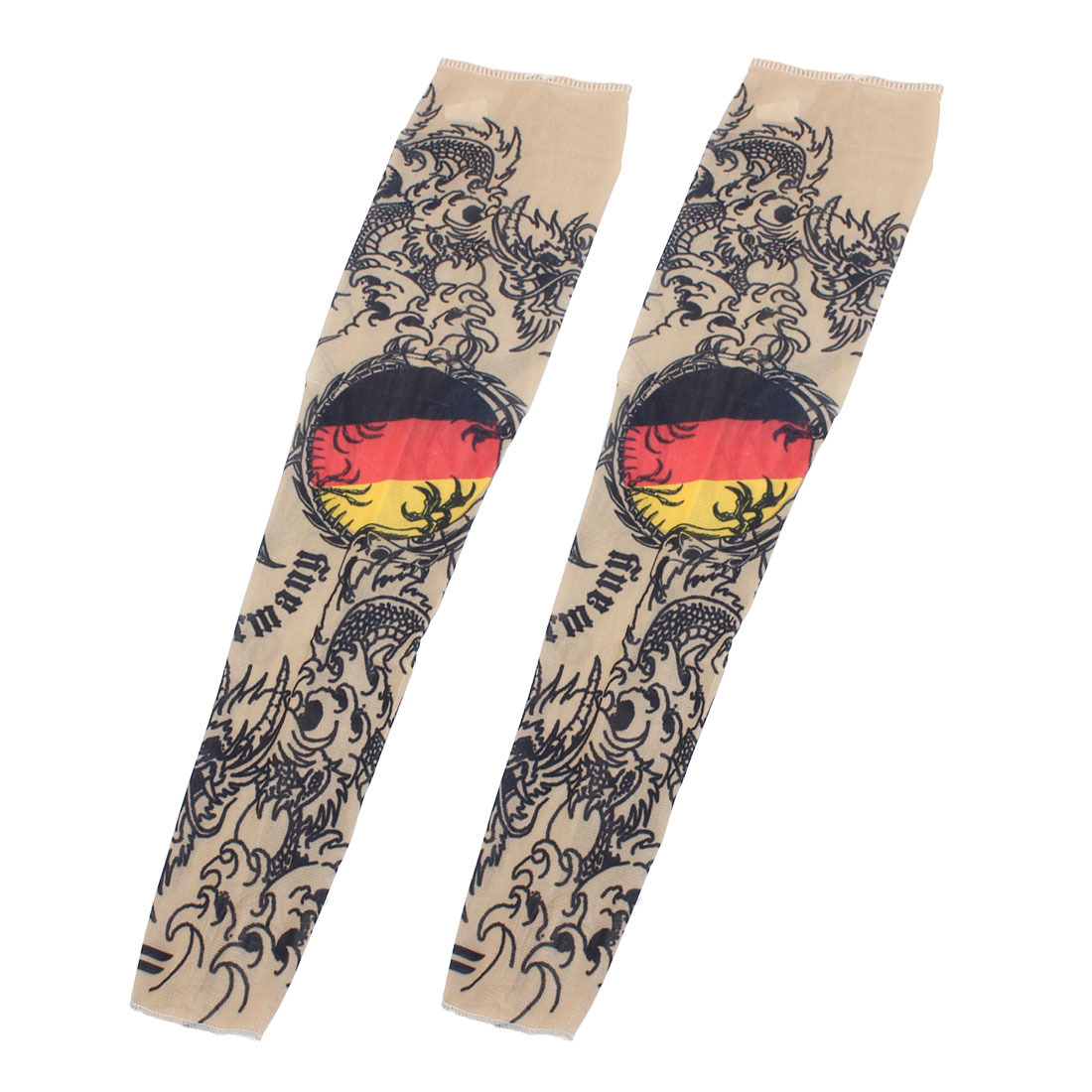 2 Pcs Beige Dargon Pattern Elastic Fake Tattoo Riding Cycling Arm Sleeve Oversleeve
