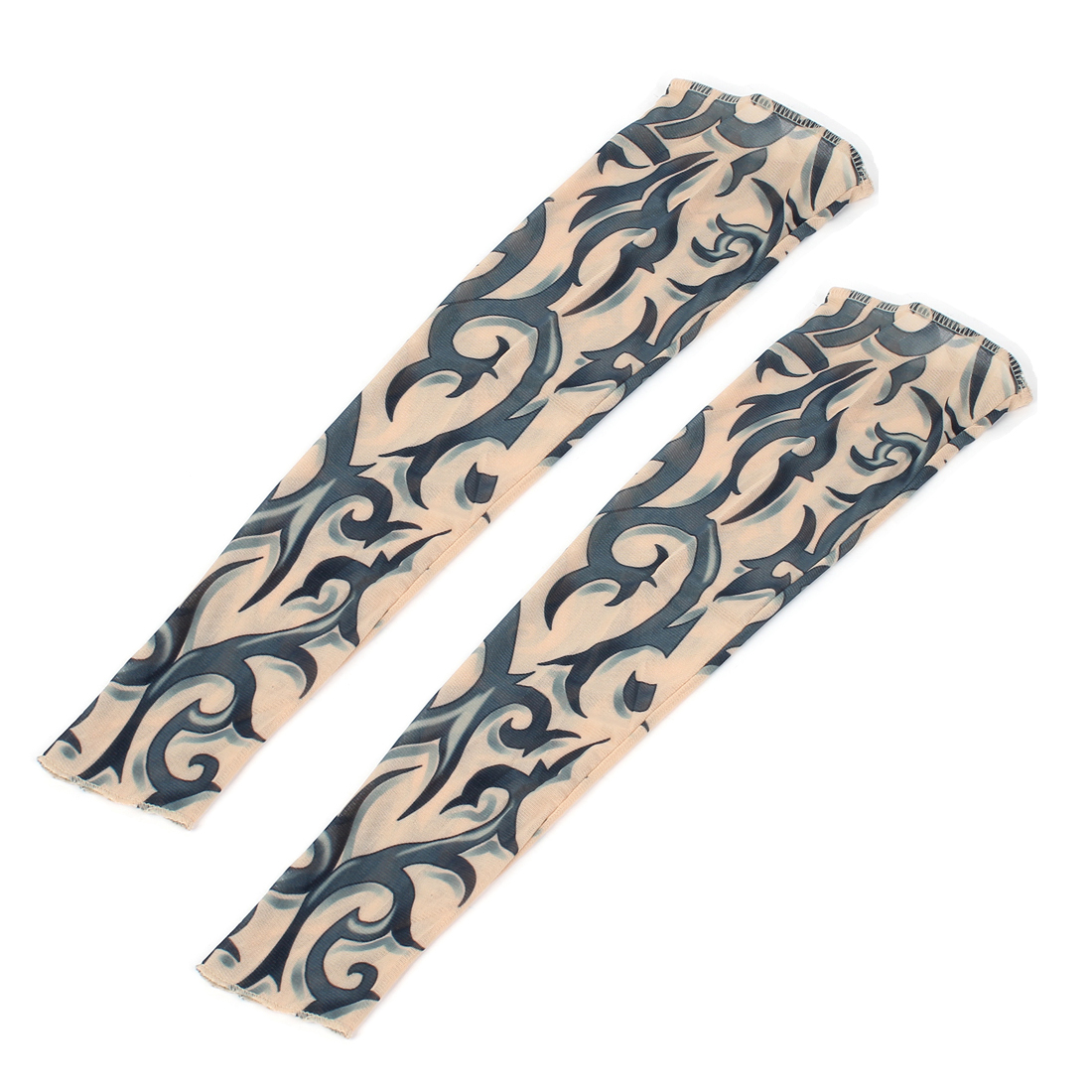 2 Pcs Navy Blue Tribal Print Nylon Stretchy Temporary Fake Tattoo Arm Sleeve Oversleeve