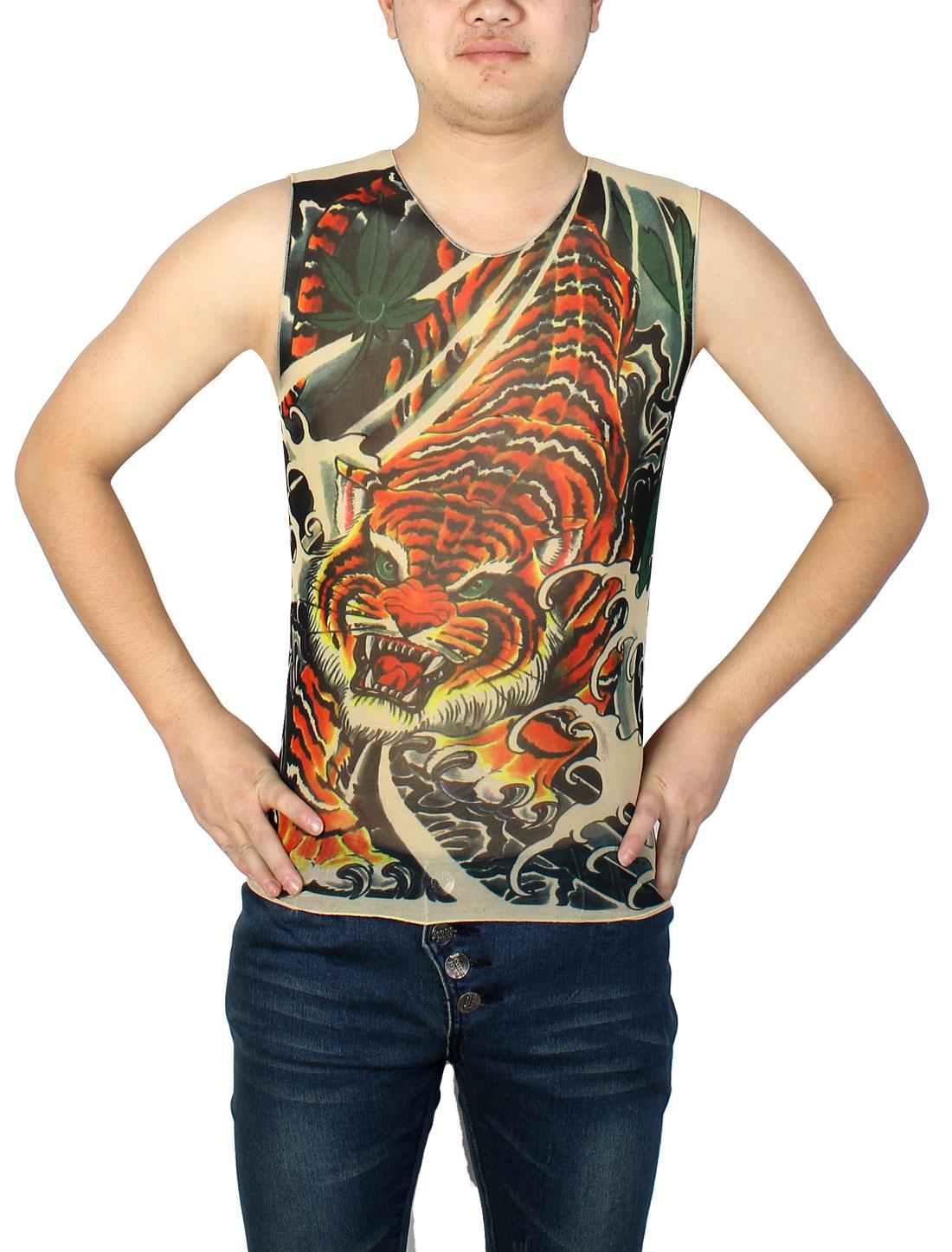 Round Neck Sleeveless Orange Red Tiger Print Semi Sheer Tattoo Vest S for Men