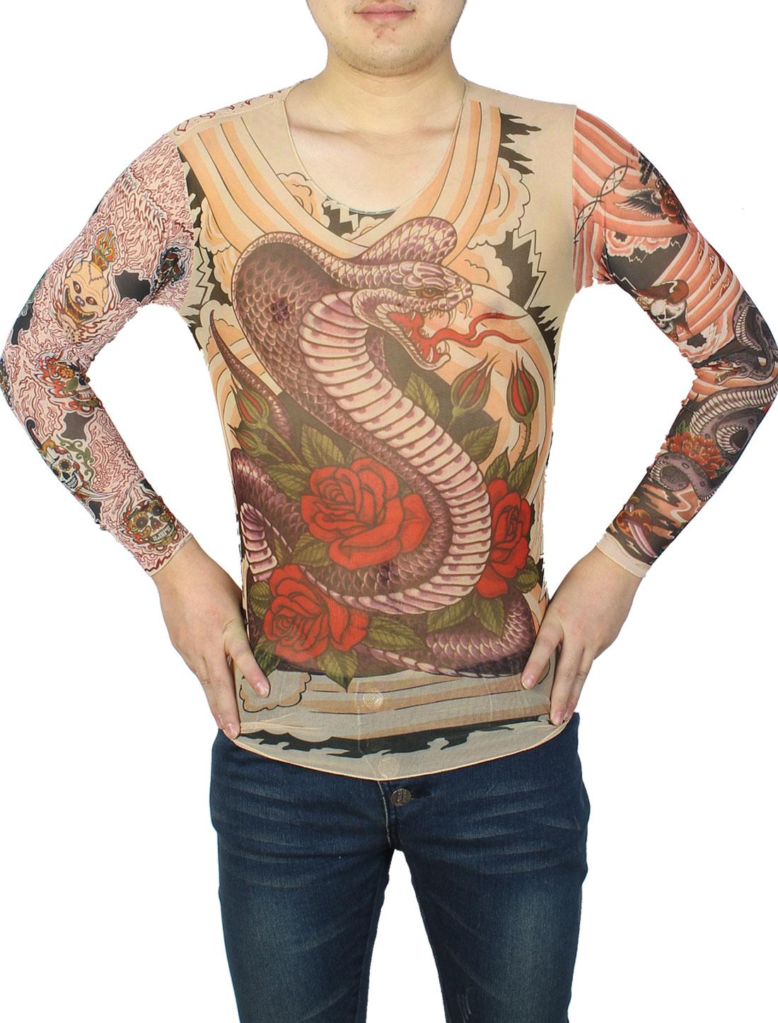 Long Sleeve Meshy Design Dark Purple Snake Print Tattoo T-Shirt S for Men