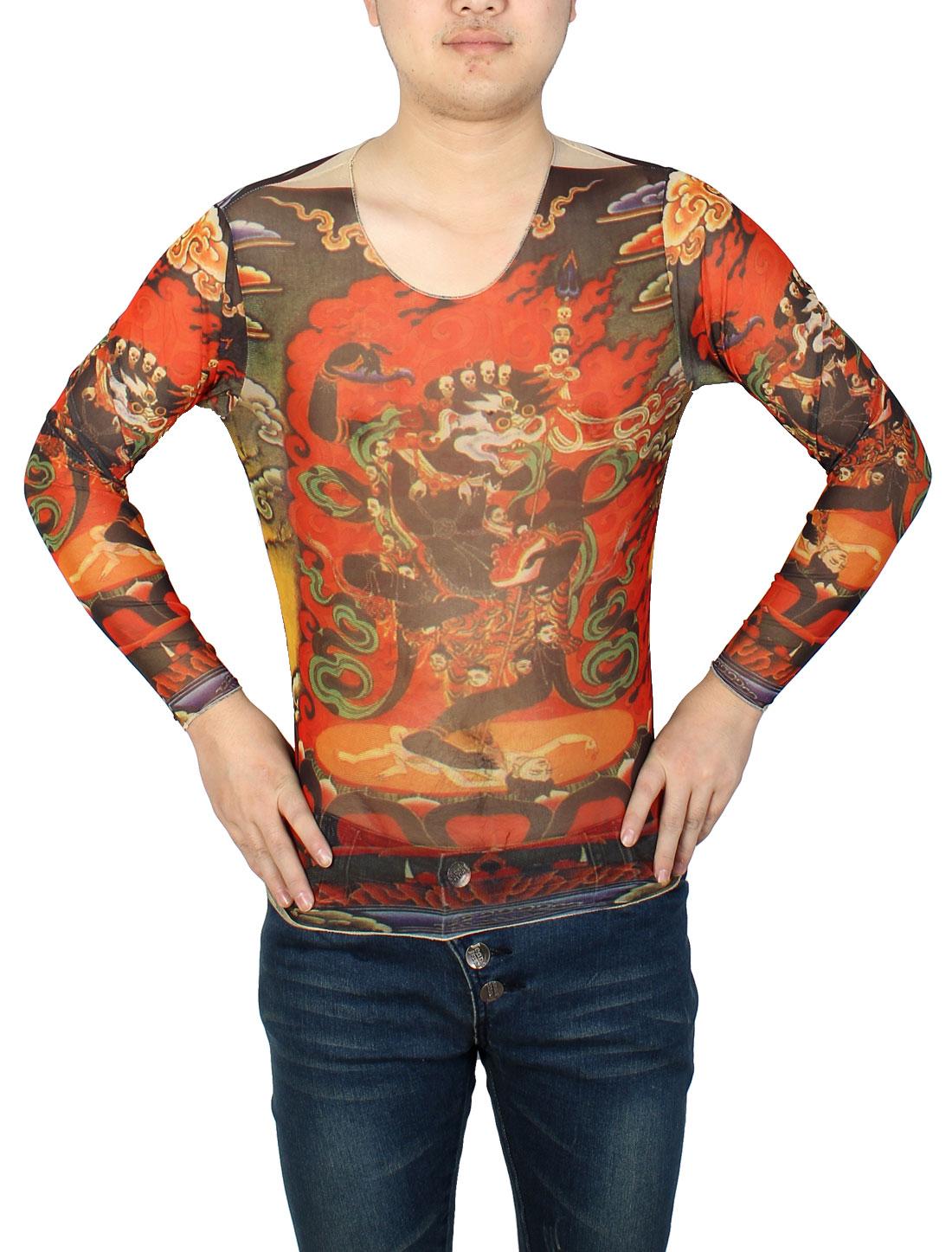 Man Long Sleeve Semi Sheer Orange Red Flowers Print Elastic Tattoo T-Shirt S