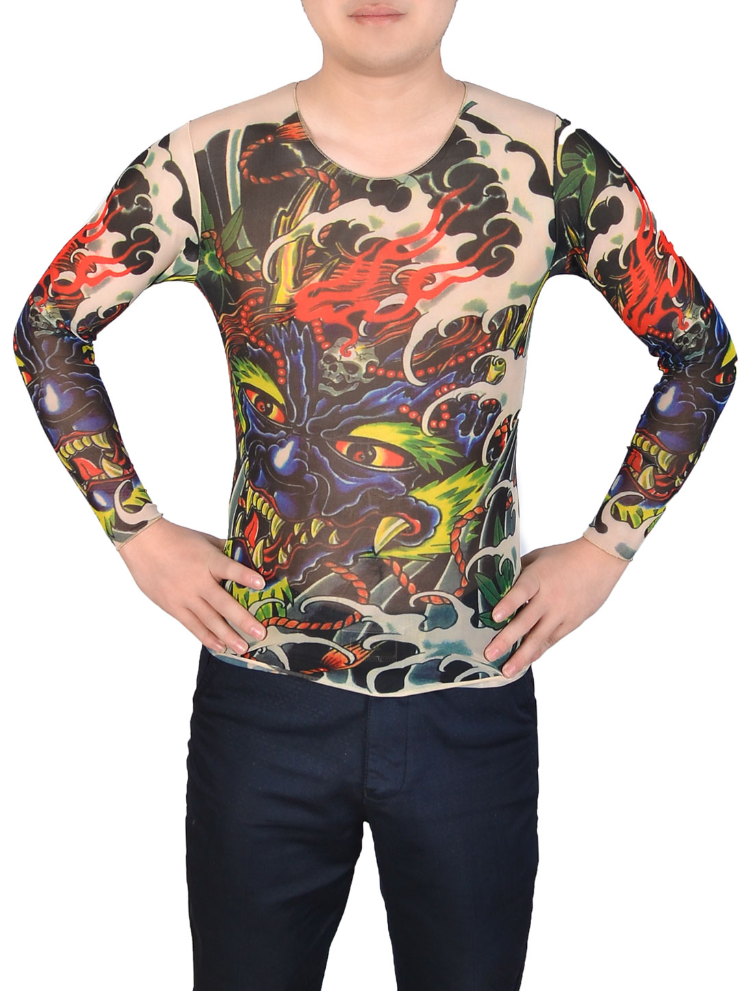 Men Round Neck Meshy Design Tattoo T-Shirt Colorful Size S