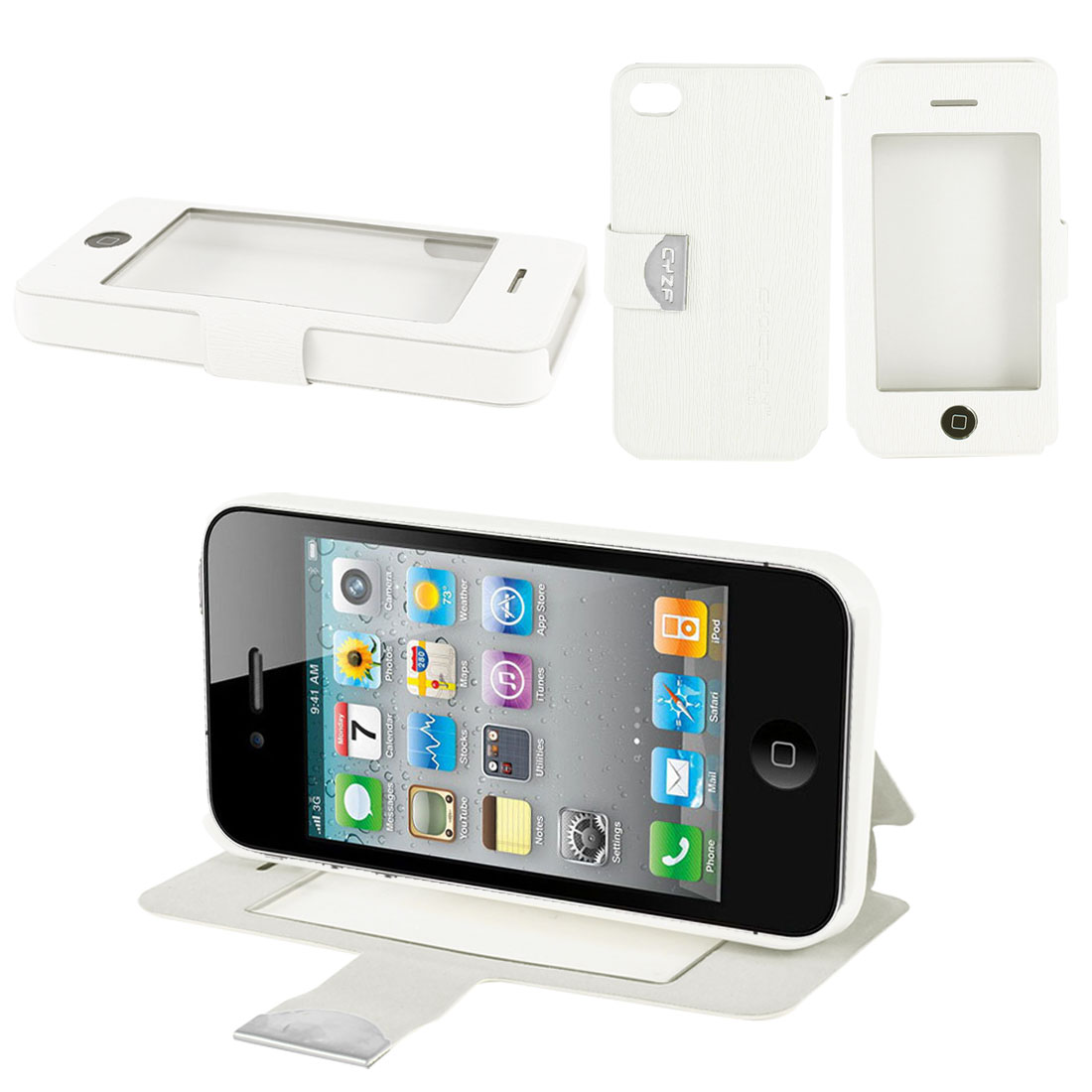 White PU Leather Magnetic Flip View Stand Case Cover for Apple iPhone 4 4S 4G