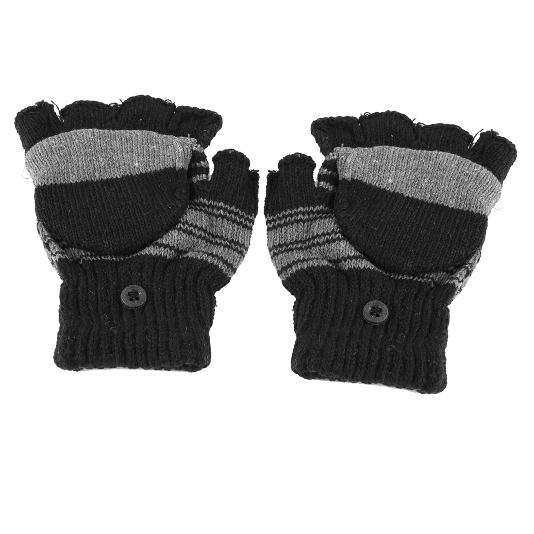 Boys Pair Hand Knitting Convertible Mitten Cover Fingerless Gloves Black