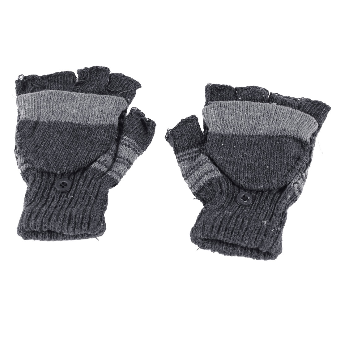 Boys Pair Hand Knitting Convertible Mitten Cover Fingerless Gloves Gray