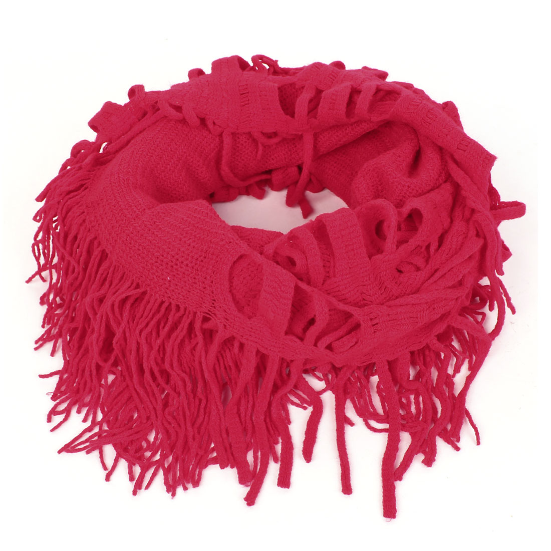 Winter Tassels Decorative Knitted Scarf Neckerchief Gift Red for Ladies