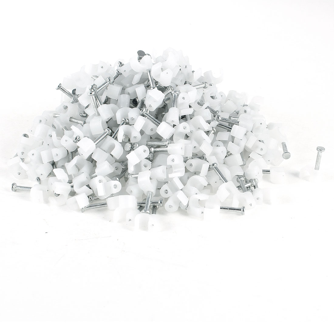 700 Pcs 3.5mm Diameter Electric Cable White Plastic Circle Nail Clips