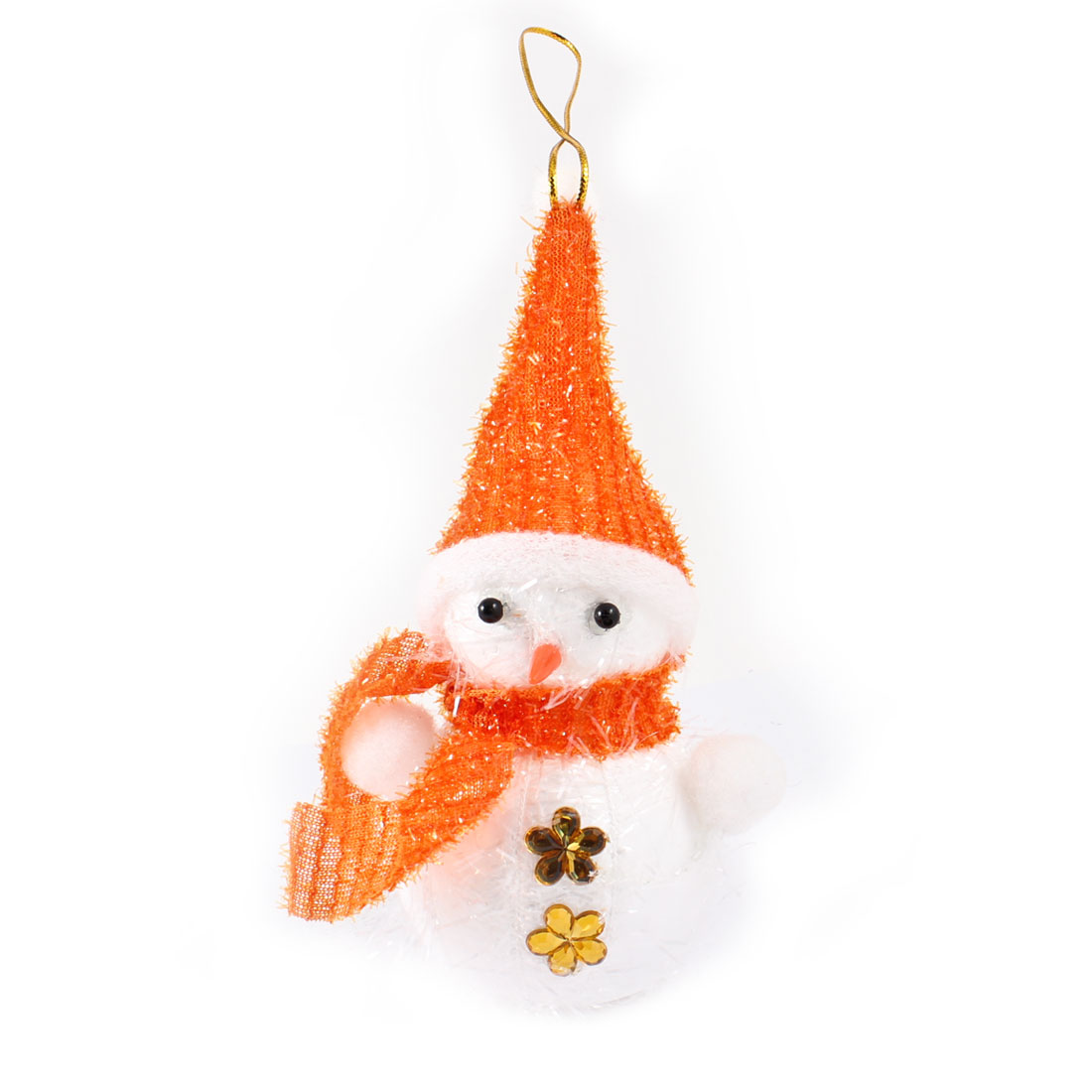 Orange Scarf Cap White Snowman Dangling Christmas Tree Hanging Ornament