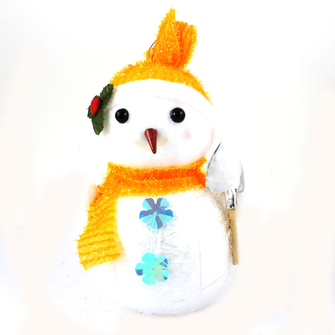Orange Scarf Cap Accent White Snowman Christmas Tree Hanging Decoration