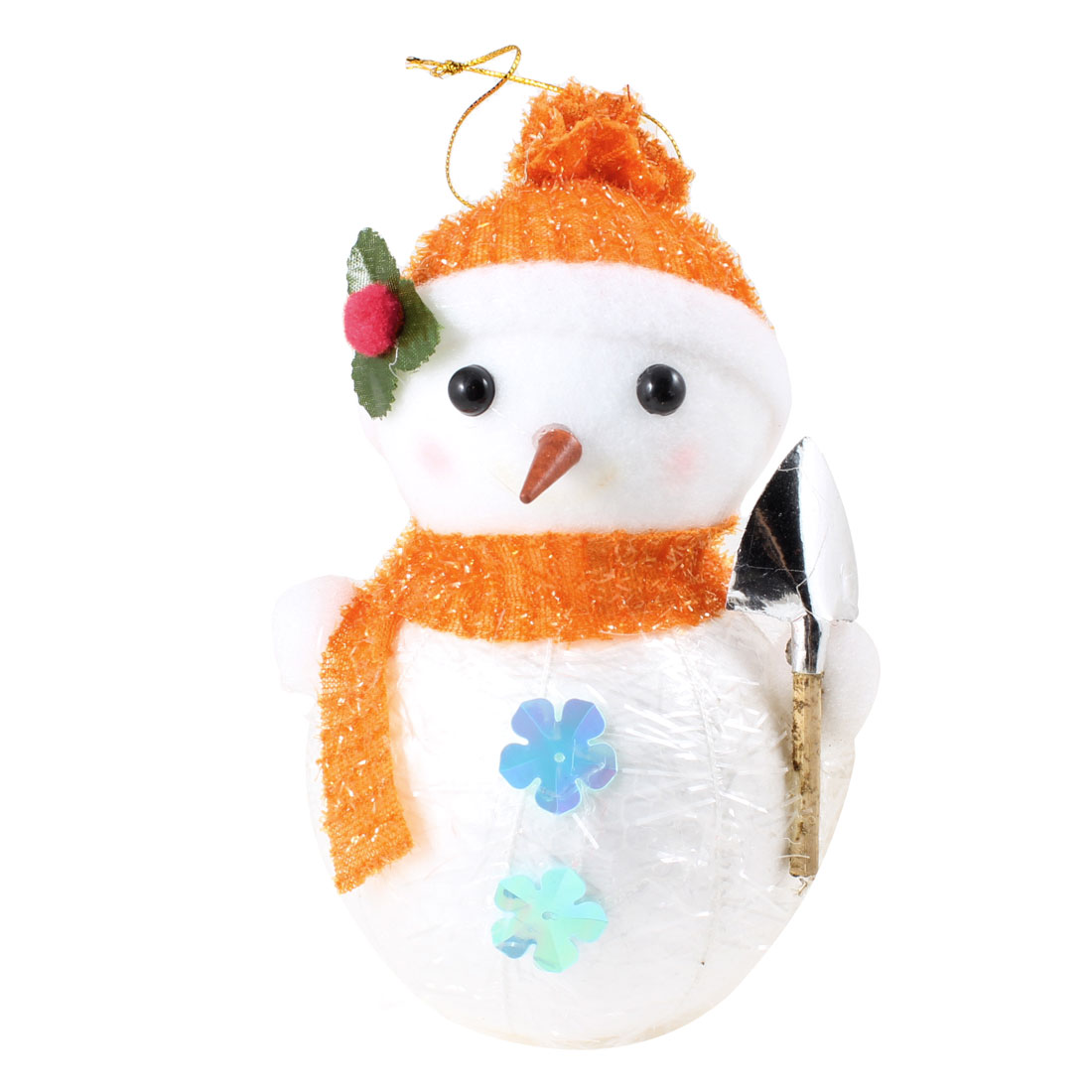 Orange Red Scarf Cap Accent White Snowman Christmas Tree Hanging Ornament
