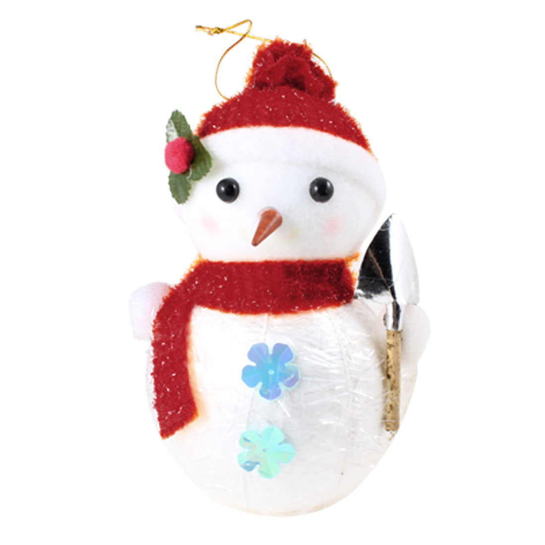 Red Scarf Cap Detail White Snowman Christmas Tree Hanging Ornament