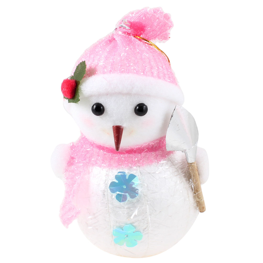 Pink Scarf Cap Accent White Snowman Christmas Tree Hanging Ornament