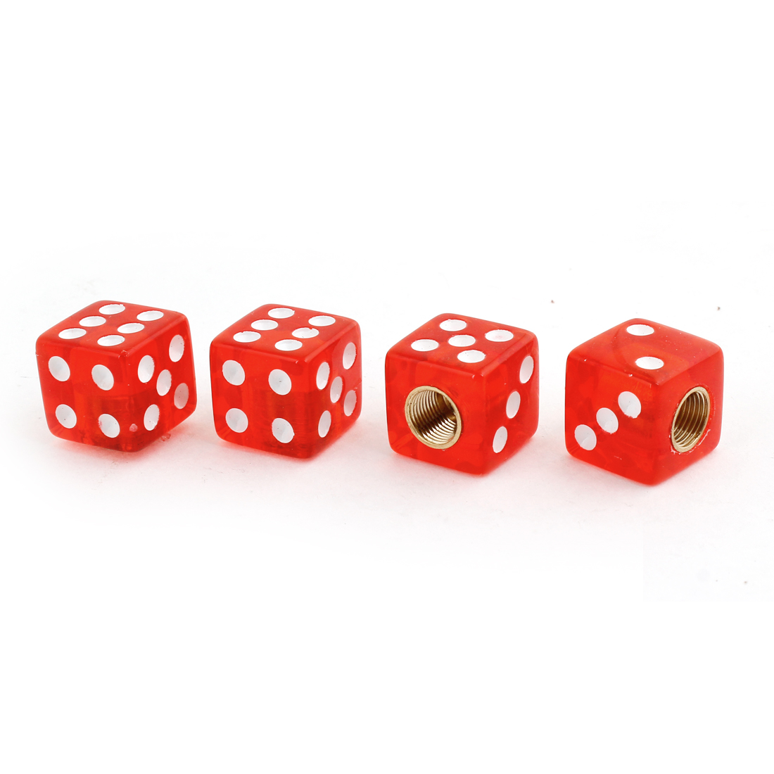 Vehicle Car Red Dice Shape Tire Valve Wheel Stem Cap Cover 4 Pcs