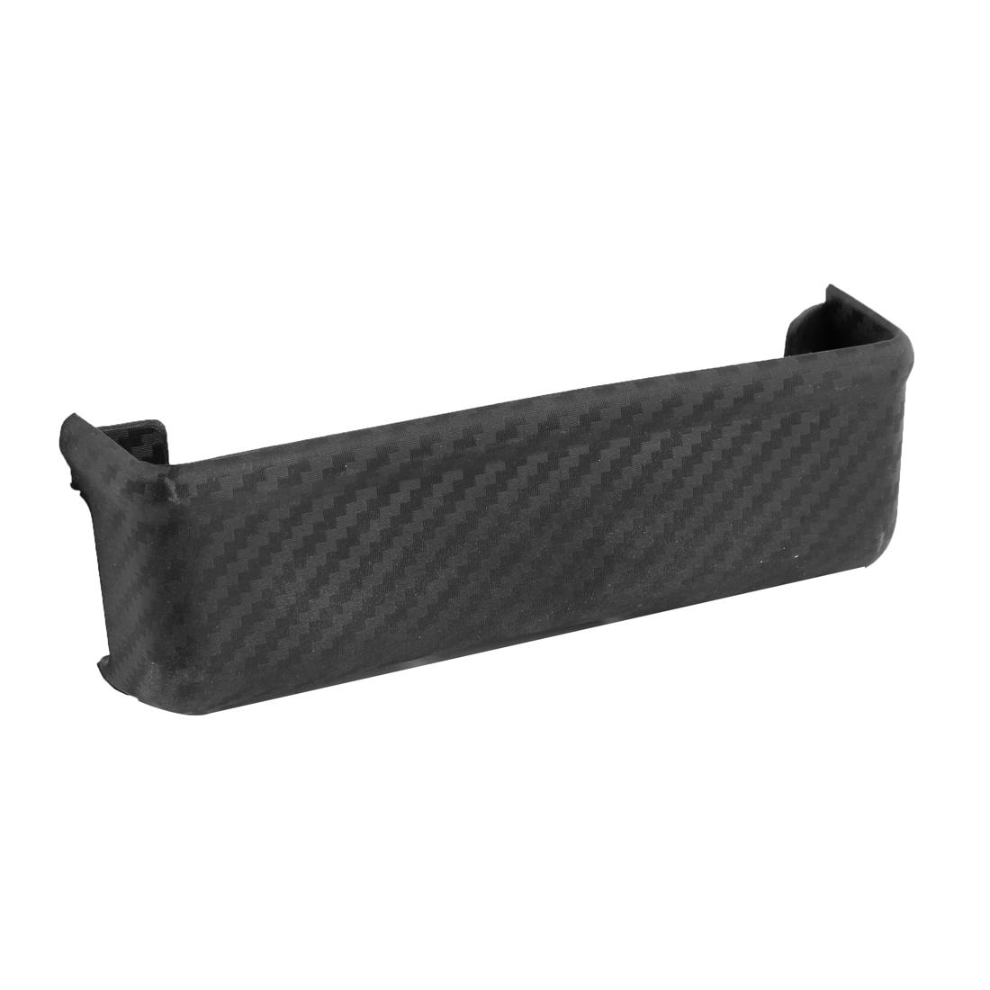 Car Interior Black Carbon Fiber Hard Plastic Rectangle Sundries Storage Box