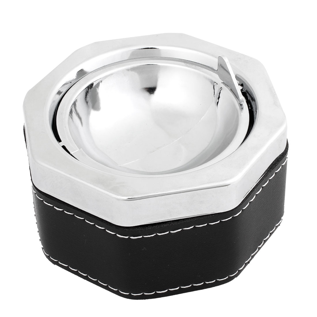 Black Faux Leather Silver Tone Metal Car Smoking Cigarette Ashtray Holder