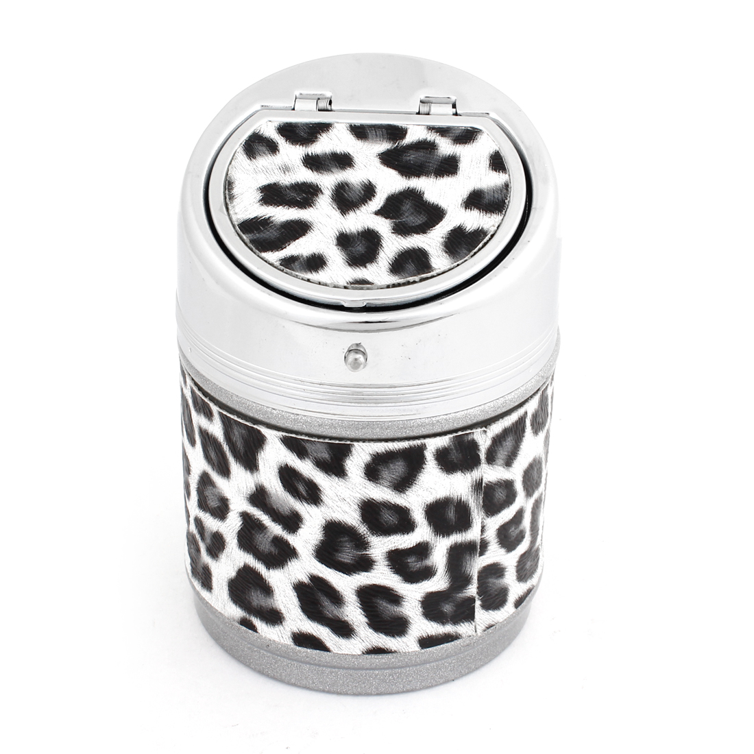 Auto Car Metal Cylinder Shaped Ashtray Ash Tray White Black Leopard Print