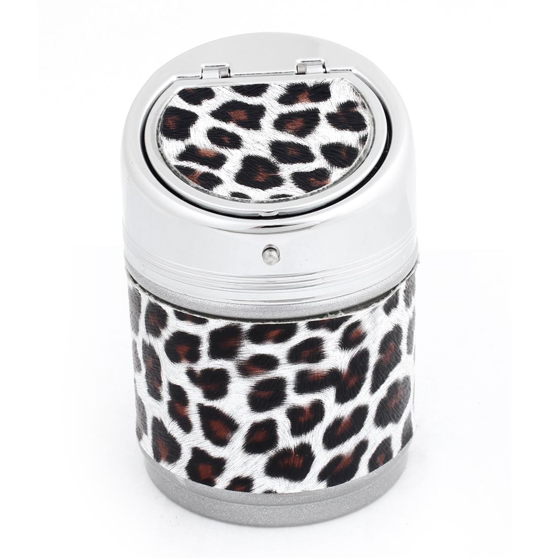 Black Coffee Color Leopard Print Cigarette Holder Ashtray for Auto Car