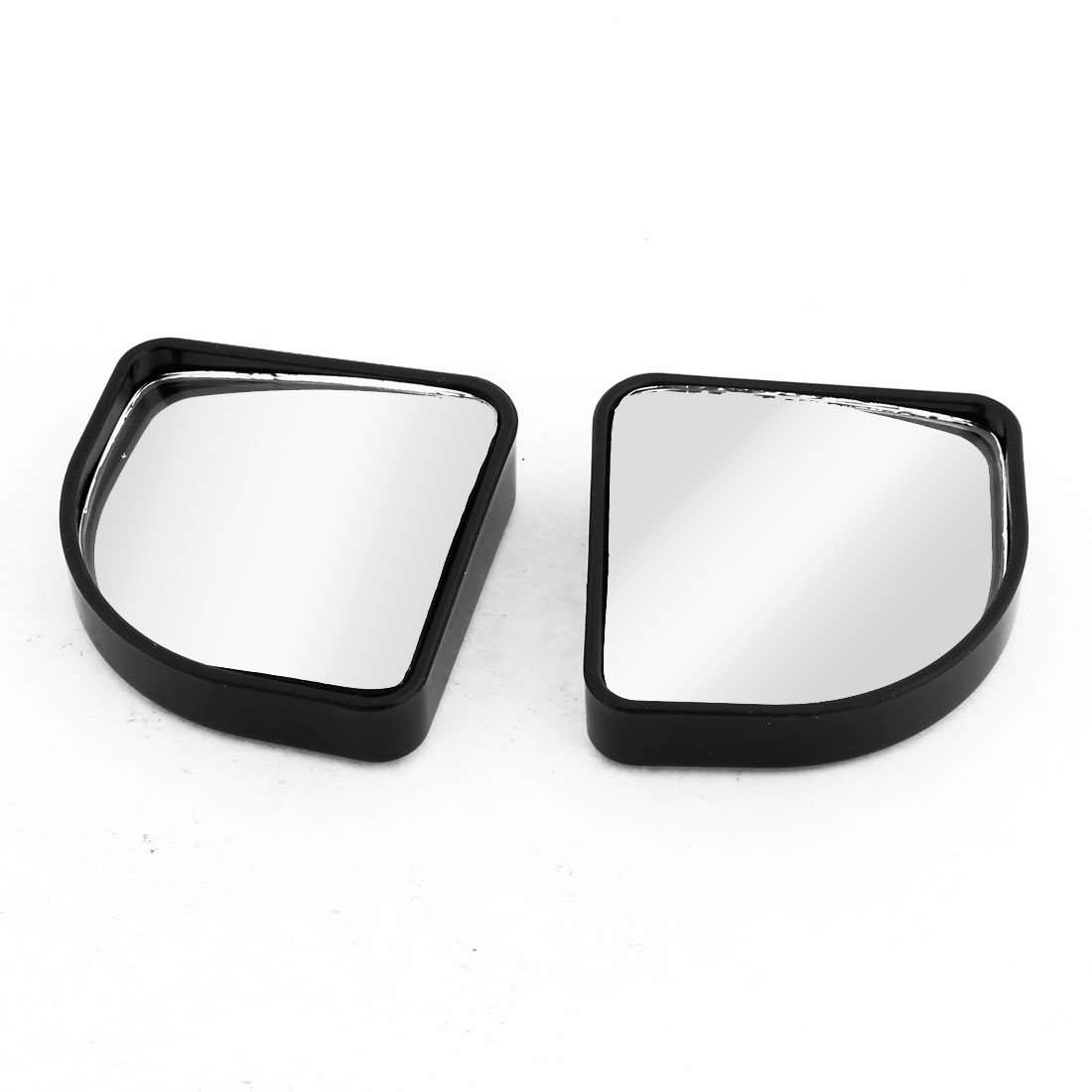 Pair Car Black Plastic Shell Side Convex Rearview Blind Spot Mirror