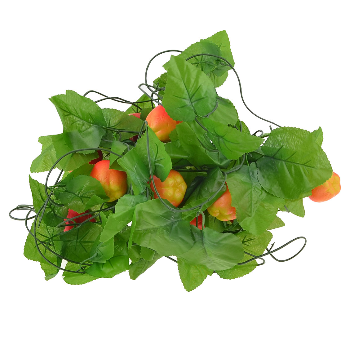 5 x Red Orange Foam Apple Green Leaves Wall Ornament Hanging Vine 2.7M