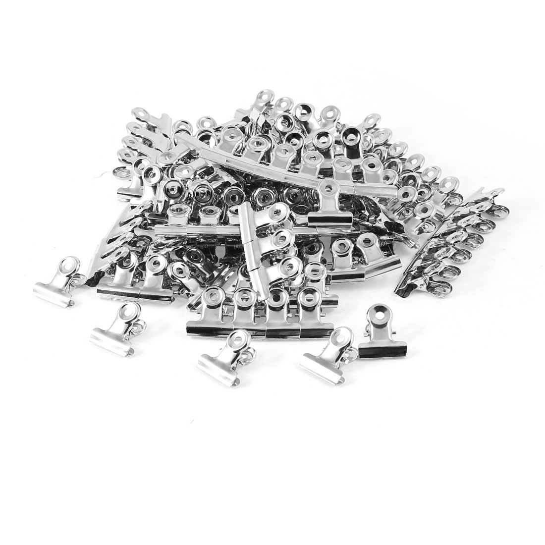 Silver Tone Metal Paper Clips Office Stationery Metal Clamps Tool 50 Pcs