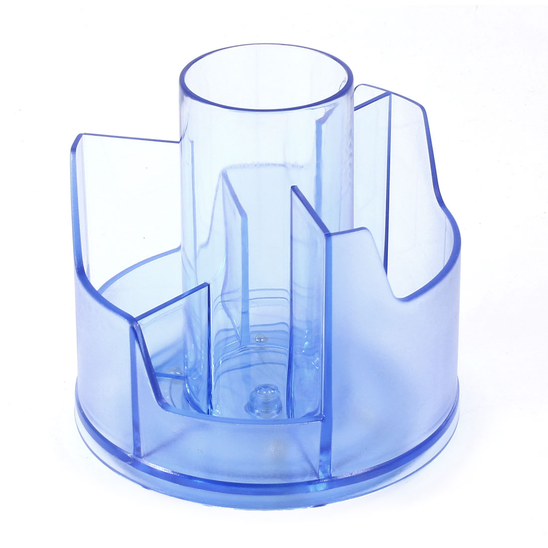 Blue Clear Plastic Round Rotating Stationery Pen Organizer Holder w 7 Sections