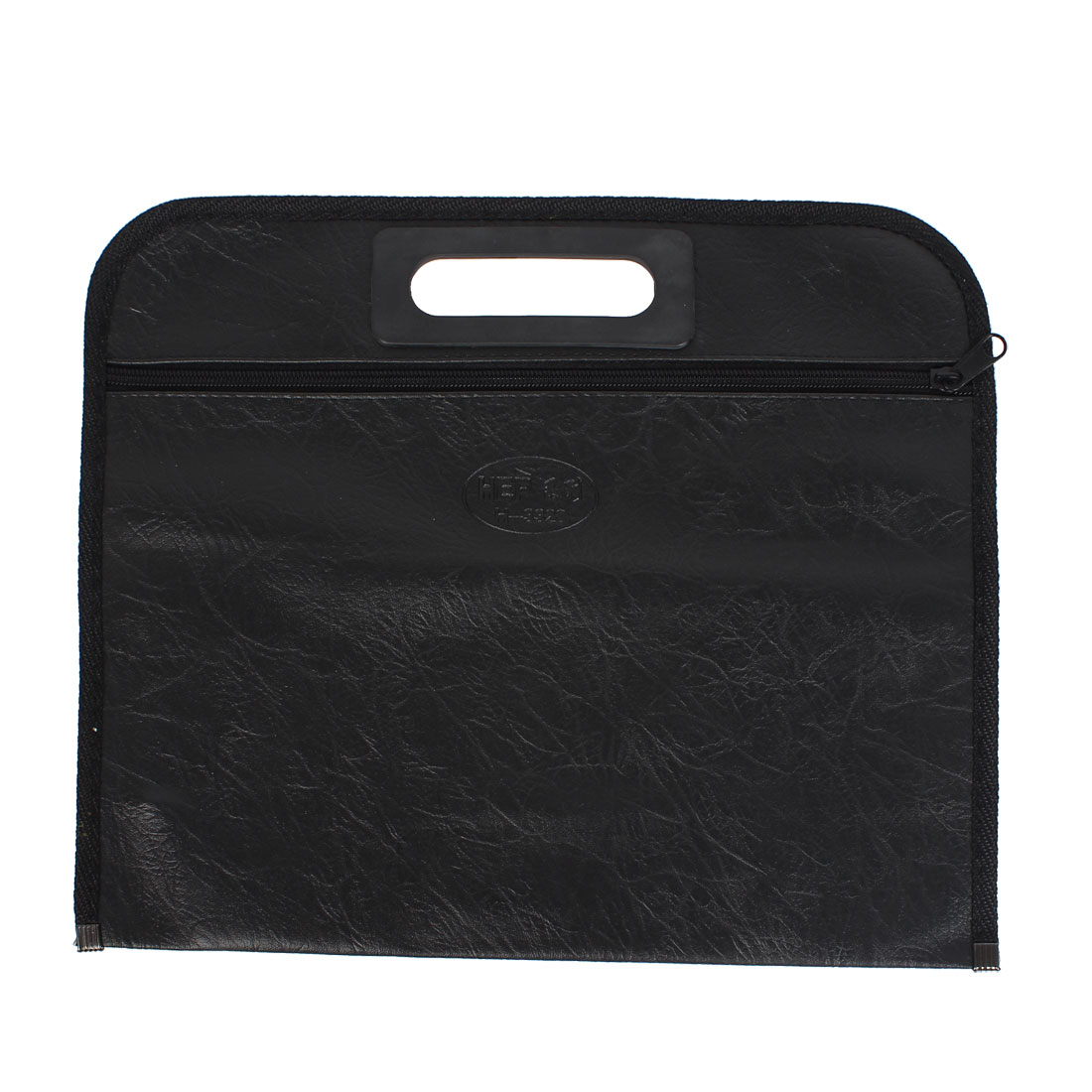 Protable Paper Pen Document Expanding Zippered One Compartment File Bag Holder Black