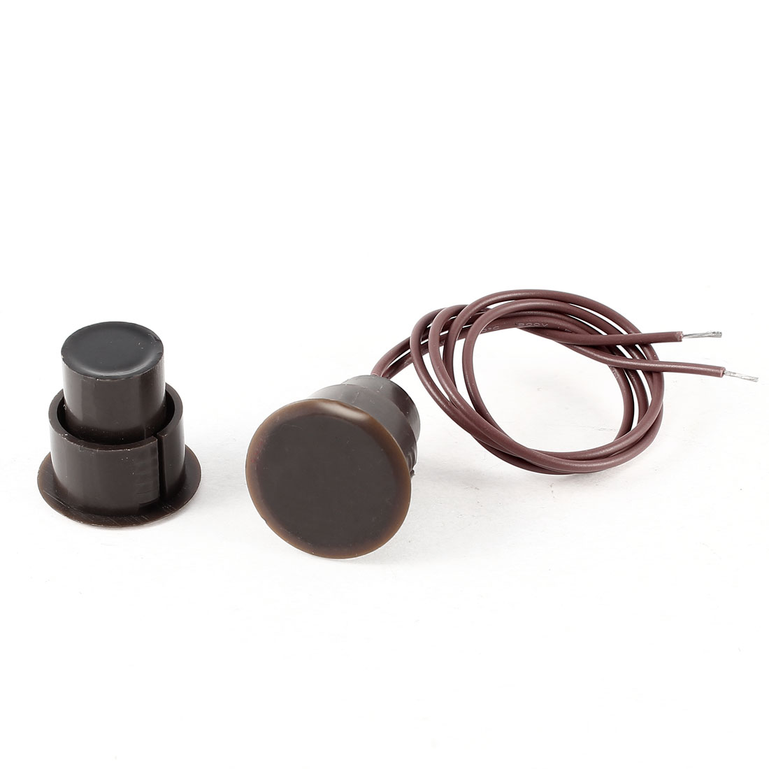 Brown Wired Recessed Window Door Alarm Security Magnet Contact Reed Switch