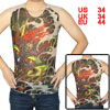 Round Neck Sleeveless Dragon Pattern Tattoo Vest Green Khaki S for Men