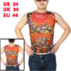 Sleeveless Semi Sheer Tattoo Vest Colorful Size S for Man