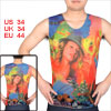 Men Round Neck Colorful Flowers Print Tattoo Costume Vest S