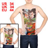 Meshy Design Tiger Pattern Stretchy Tattoo Vest Khaki S for Men