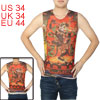 Round Neck Sleeveless Dragon Pattern Tattoo Vest Orange Red S for Men