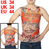 Round Neck Sleeveless Devil Pattern Tattoo Vest Red Black Khaki S for Men