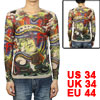 Men Colorful Dragon Pattern Semi Sheer Stretchy Tattoo T-Shirt S