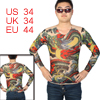 Round Neck Snake Print Semi Sheer Tight Tattoo T-Shirt Red Green S for Men