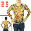 Men Tattoo Clothing Semi-sheer Long Sleeve Stretchy T-shirt Red Yellow S
