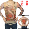 Long Sleeve Meshy Design Dark Purple Snake Print Tattoo T-Shirt S for Men