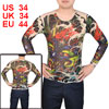 Men Pullover Round Neck Meshy Design Tattoo T-Shirt Colorful Size S