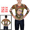 Men Round Neck Assorted Color Meshy Design Tattoo T-Shirt S