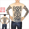 Long Sleeve Skeleton Skull Pattern Semi Sheer Tatoo Black Beige S for Men