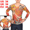 Long Sleeve Mandarin Duck Pattern Semi Sheer Tatoo Khaki Red S for Men