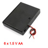 Plastic Shell Batteries Holder Box w Cover for 6 x 1.5V AA Battery