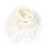 Women Wear White Tassels Accent Knitted Neck Scarf Bandelet Neckerchief