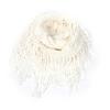 Women Wear White Tassels Accent Knitted Neck Scarf Bandelet Neckerchief
