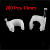 200 Pcs 10mm Diameter Electric Cable White Plastic Circle Nail Clips