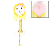 Yellow Nylon Bowknot Bell Decor Pink Face Head Christmas Stick Ornament