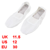White Soft Polyester Elastic Band Flat Ballet Dancing Shoes UK Size 11.5 for Girls